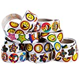 1000 stickers roll - Sticker Roll - 10 Sticker Rolls - 1000 Assorted Stickers - Stickers for Kids - Teachers Stickers by Tigerdoe