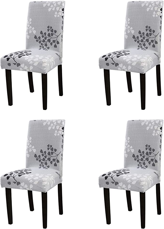 YEESSION Stretch Spandex Dining Chair Slipcovers Removable Washable Dining Room Chair Protector Cover Seat Slipcover Set of 4 (Style 13)