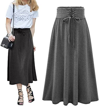 hibote Falda Maxi Larga para Mujer, Estilo Retro Algodón Larga Faldas Cintura Alta Irregular Dobladillo Falda Elegantes Boho Falda: Amazon.es: Ropa y accesorios
