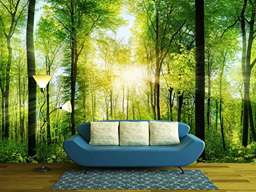 wall26 - Panorama of a Scenic Forest of Fresh Green Deciduous Trees with the Sun Casting Its Rays of Light Through the Foliage - Removable Wall Mural | Self-adhesive Large Wallpaper - 100x144 inches