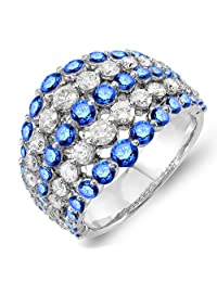 14K White Gold Round Blue Sapphire & White Diamond Ladies Cocktail Right Hand Ring