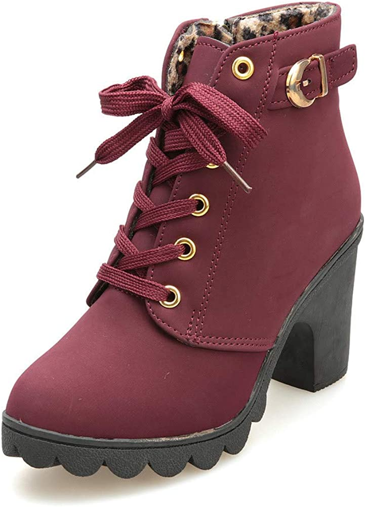Aniywn Ankle Boots,Women Winter Chunky High Heels Boots Fall Combat Lace Up Booties Platform Shoes