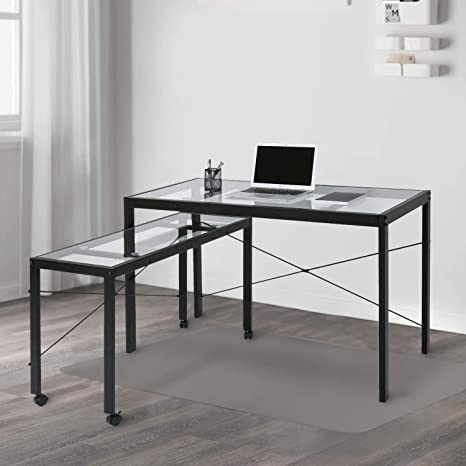 timeless design 6b787 93597 Kinbor Home Office Computer Table Desk Workstation with Glass Top and Metal  Legs 2 Desks, w/Wheels