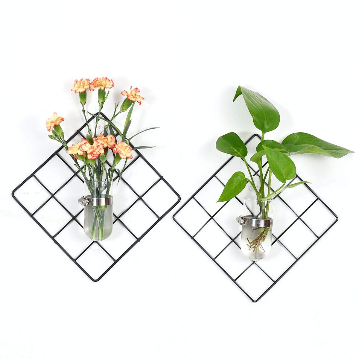 Kingbuy 4 Pack Painted Wire Wall Grid Panel with Wall Plant Terrariums Glass Hanging Planter Cylinder-Shaped Air Plants Holder Decorative Iron Wall Hanging Art Disply Photowall 7.6 X 7.6