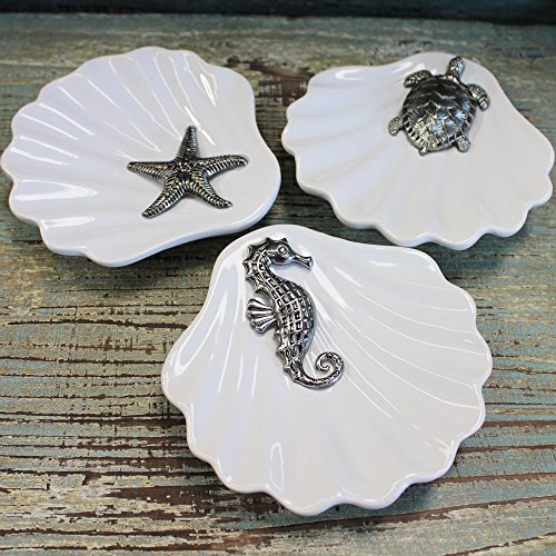 3 Ceramic Clam Shaped Dishes with Pewter Sealife Icon, Se...