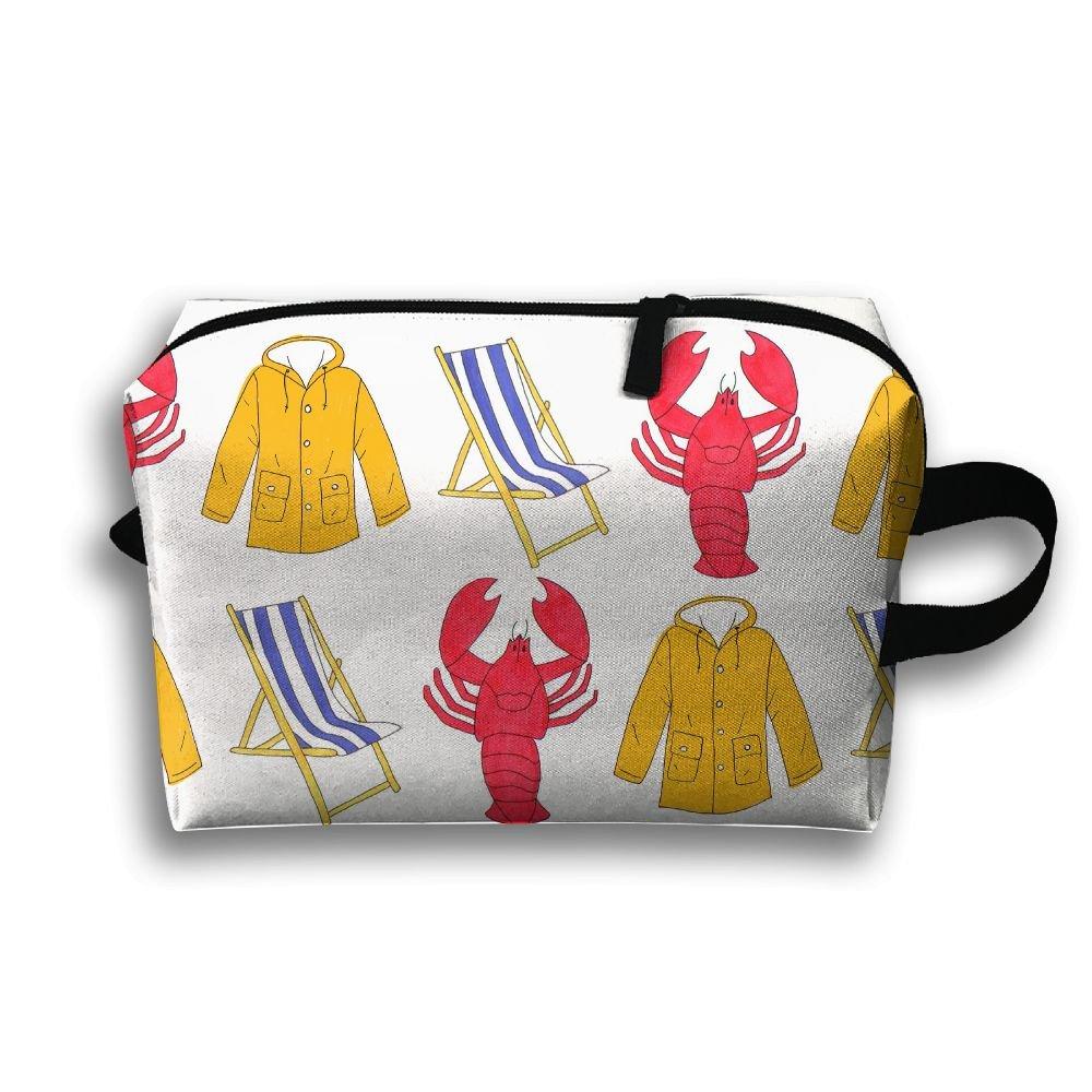 Lobster Beach Chair Coat Travel Bag Cosmetic Bags Portable Makeup Bag Zipper Wallet Hangbag Wristlet Holder