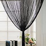 Dew Drop Black String Door Divider and Window Curtain Panel By TRIXES