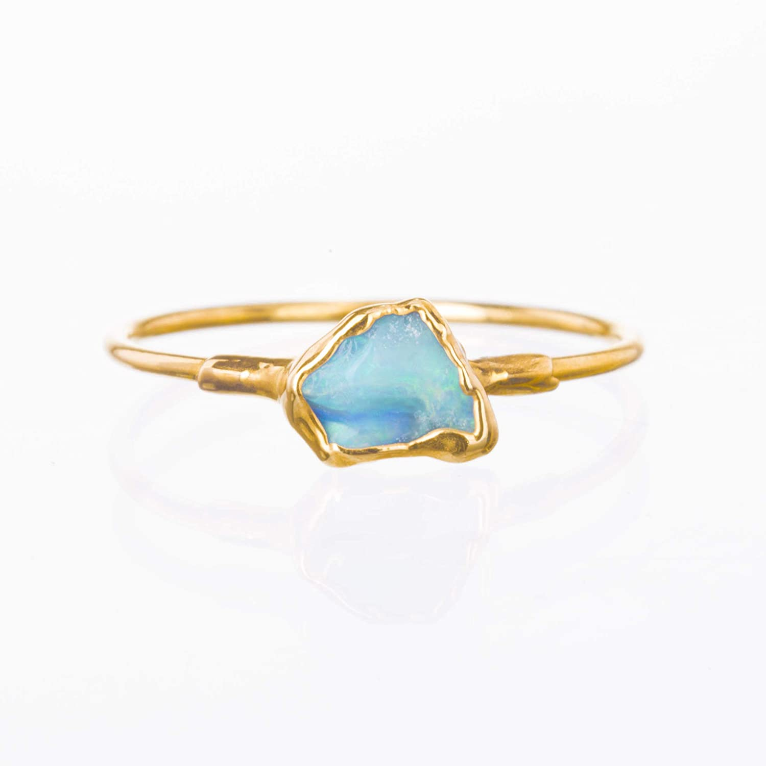 October Birthstone Stacking Ring Yellow Gold Size 5 Mini Raw Opal Ring
