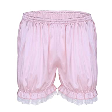 a2cba1340ef2 YiZYiF Men's Frilly Satin Underwear Sissy Crossdress Maid Bloomer Granny  Panties Pink X-Large(