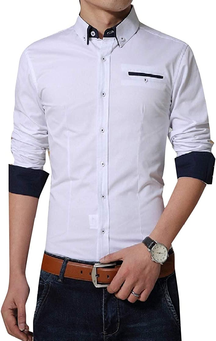 Comaba Mens Silm Fit Oversize Pure Colour Business Tshirt Top Shirt