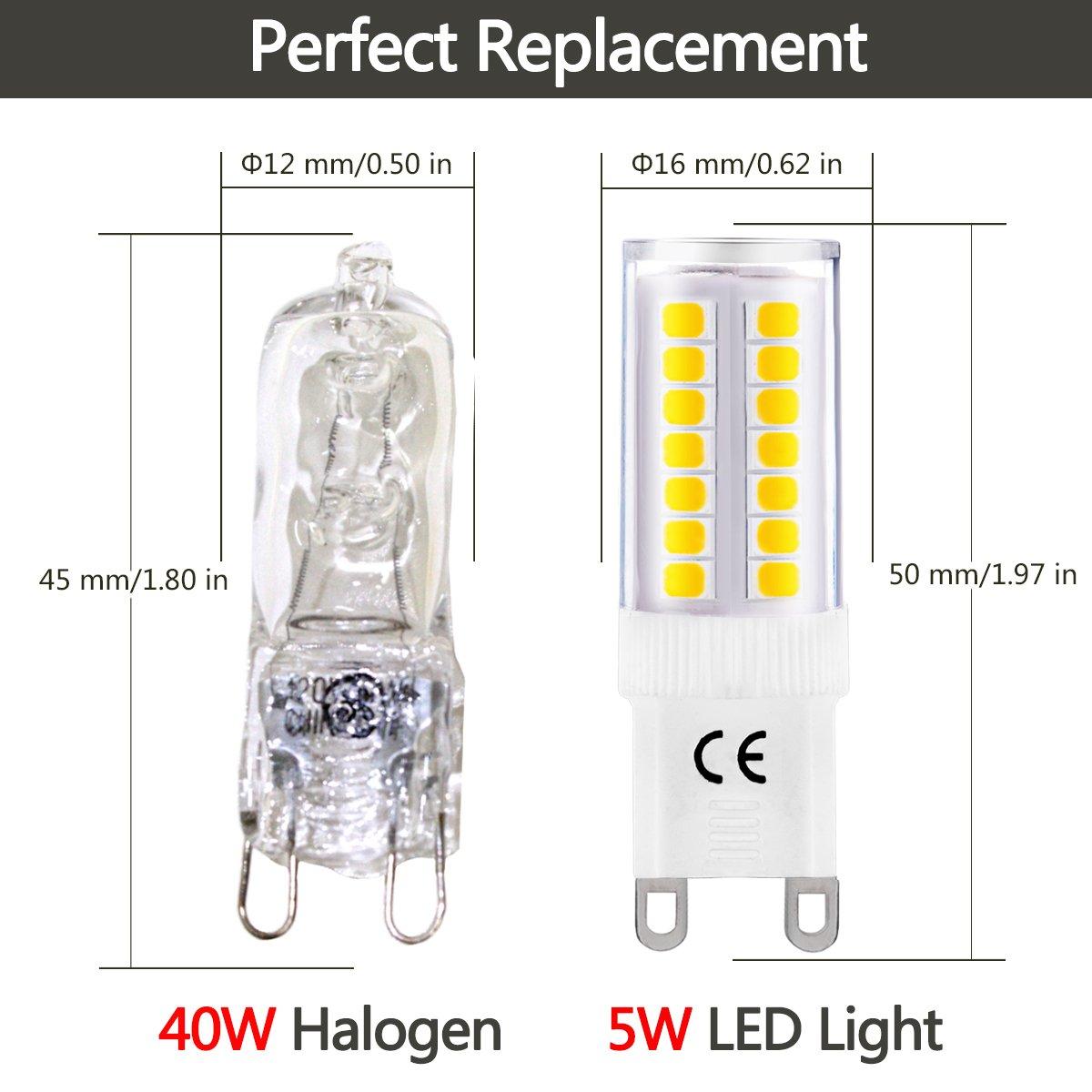 LOHAS® G9 Bombilla de LED de 5 Vatios, 400lm, 3000K Blanco Cálido, Recambio de 40 Vatios, Ángulo de Haz de 360°, 220-240V AC, No Regulable - Pack de 6: ...