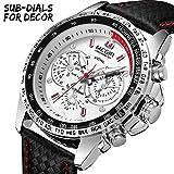MEGIR Men Work Wrist Watches Analog Quartz Waterproof Sport Casual Fashion Watch with Leather Band