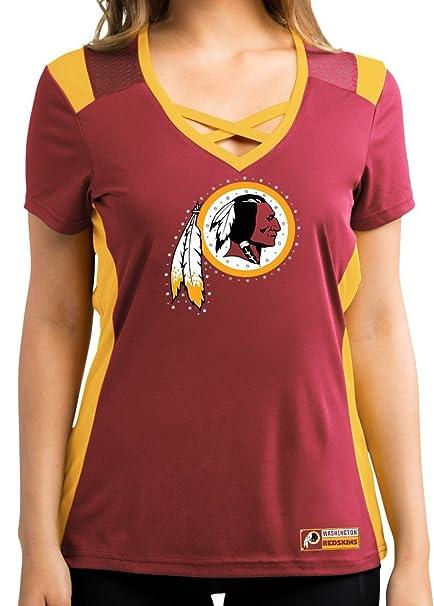 online store 17083 768fc Washington Redskins Women's Red Draft Me Jersey V-Neck T-shirt