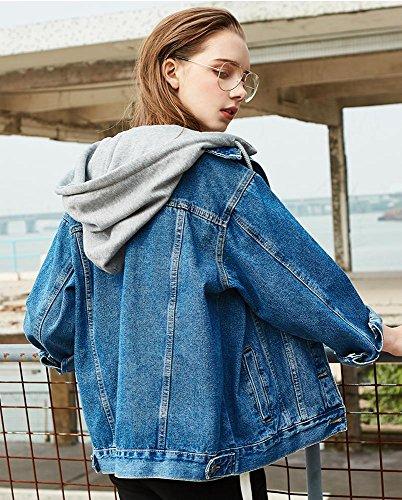 desmontable Dark capucha de chicas L XS chaqueta de moda mujer mezclilla con de jean suelto blue chaqueta gwfp0q