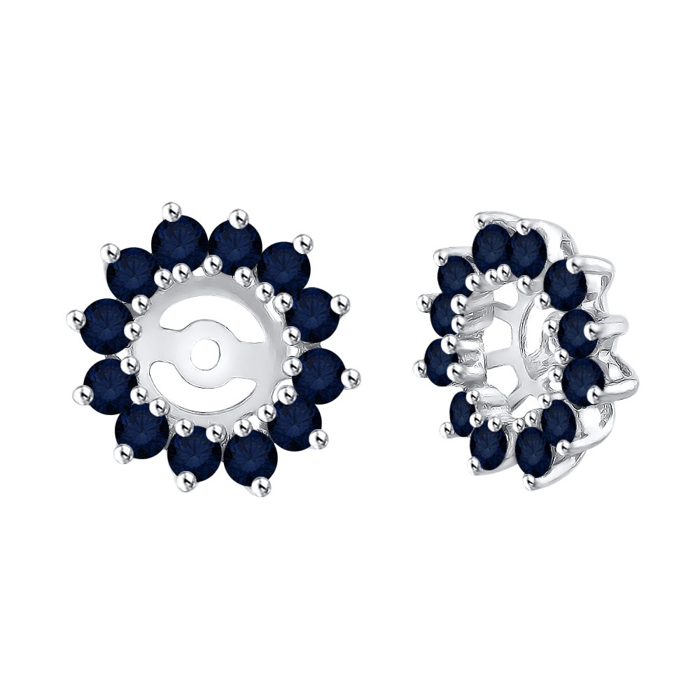 Sapphire Floral Earring Jackets in 14K White Gold (1 3/8 cttw)
