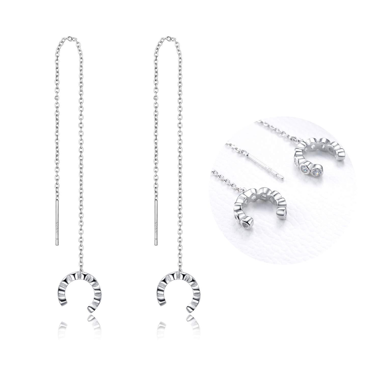 d32b8f9b882bc Threader Earrings 925 Sterling Silver Teardrop, Feather, Leaf Dangle Drop  Earrings for Women