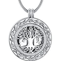 Memorial Gifts - 'Always in My Heart' Urn Locket Pendant Necklace - 'Tree of Life' Cremation Jewelry for Ashes - Keepsake for Sister Grandma Aunt Wife Daughter Mom Dad