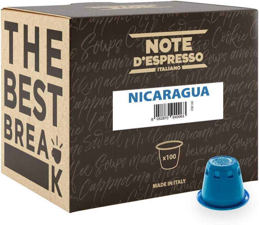 Note D'Espresso - Cápsulas de café de Nicaragua exclusivamente compatibles con cafeteras Nespresso*, 5,6g (caja de 100 unidades)