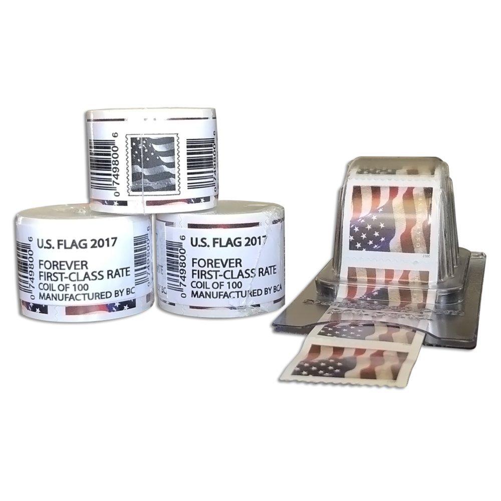 Sealed Rolls Coil Reusable Postage Dispenser 2 Rolls + Holder Forever Stamps Postage Keeper
