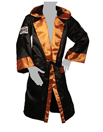 f6d6b2de59 Cleto Reyes Boxing Robe with Hood in Satin Polyester - Black Gold S  Amazon.co.uk   Sports   Outdoors