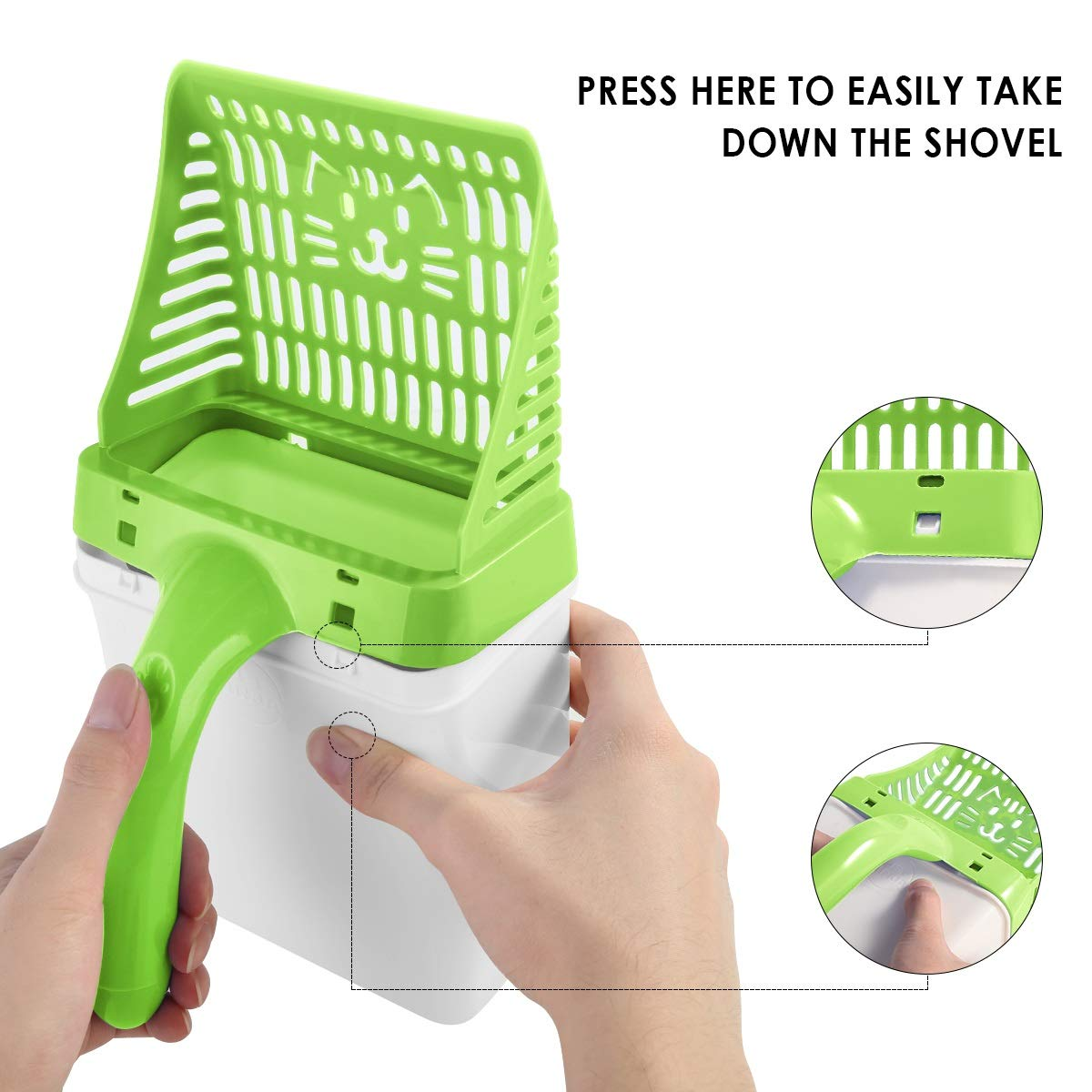 Sand Cleaning For Cat Litter 2 color option Useful Pet Cleaning Tool with Garbage Bag Color : Green Eurobuy Cat Litter Shovel /& Litter Trash Can 2-In-1