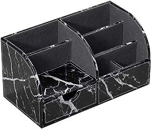 UnionBasic Office Desk Organizer - Multifunctional PU Leather Desktop Storage Box - Business Card/Pen/Pencil/Mobile Phone/Stationery Holder (Marble Black)
