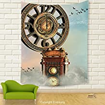 Vipsung House Decor Tapestry_Fantasy By Magical Enchanted Landscape Big Antique Clock Flying Birds Fairytale Light Blue Brown Pink_Wall Hanging For Bedroom Living Room Dorm