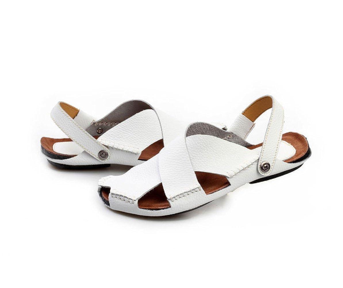 LEDLFIE Sommer Herren Strand Schuhe Casual Rutschfeste Sandalen Slipper Atmungsaktive Handarbeit Nähen Sandalen Rutschfeste Weiß ac7e28