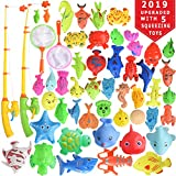 Max Fun 46 Pcs Magnetic Fishing Toys Game Set Learning Education Fishin' Bath Toys for Kids in Bathtub Pool Bath time