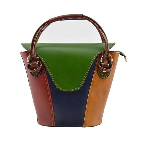 Verdadera Color En De Verde Piel Mano Multicolor Peleteria Bolso a6Iq1wTx