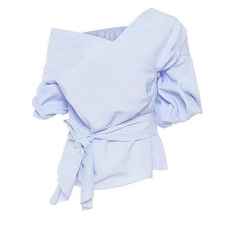 Amazon.com: Fafalisa Blusas Mujer V-Cuello Sólido con ...