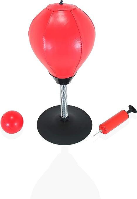 Rouge Noir Relaxdays Punching Ball de Table de Bureau Sac de Boxe Anti-Stress Anti Frustration Mini 35 x 18 x 18 cm