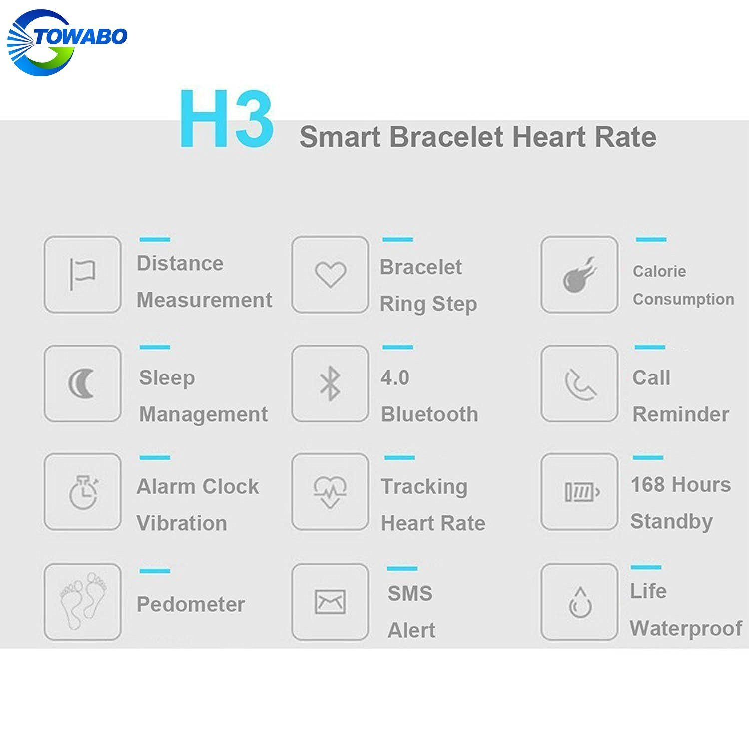 TOWABO Fitness Tracker with Heart Rate monitor E3S Activity Watch Step Walking Sleep Counter Wireless Wristband Pedometer Exercise Tracking Sweatproof