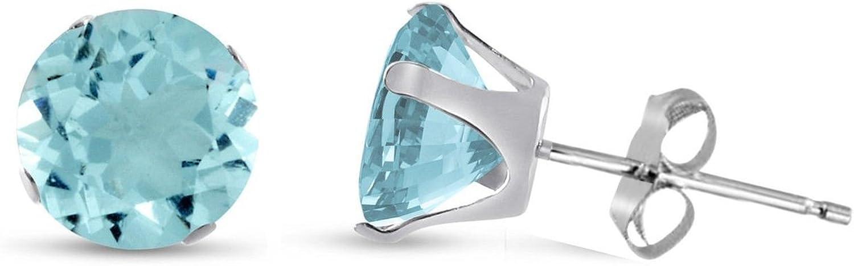 Classique brillant /à tige avec zircone ronde Boucles doreilles//clous doreille/ /Bleu aigue-marine/ /ou choisir /à partir de 2/mm /à 12/mm