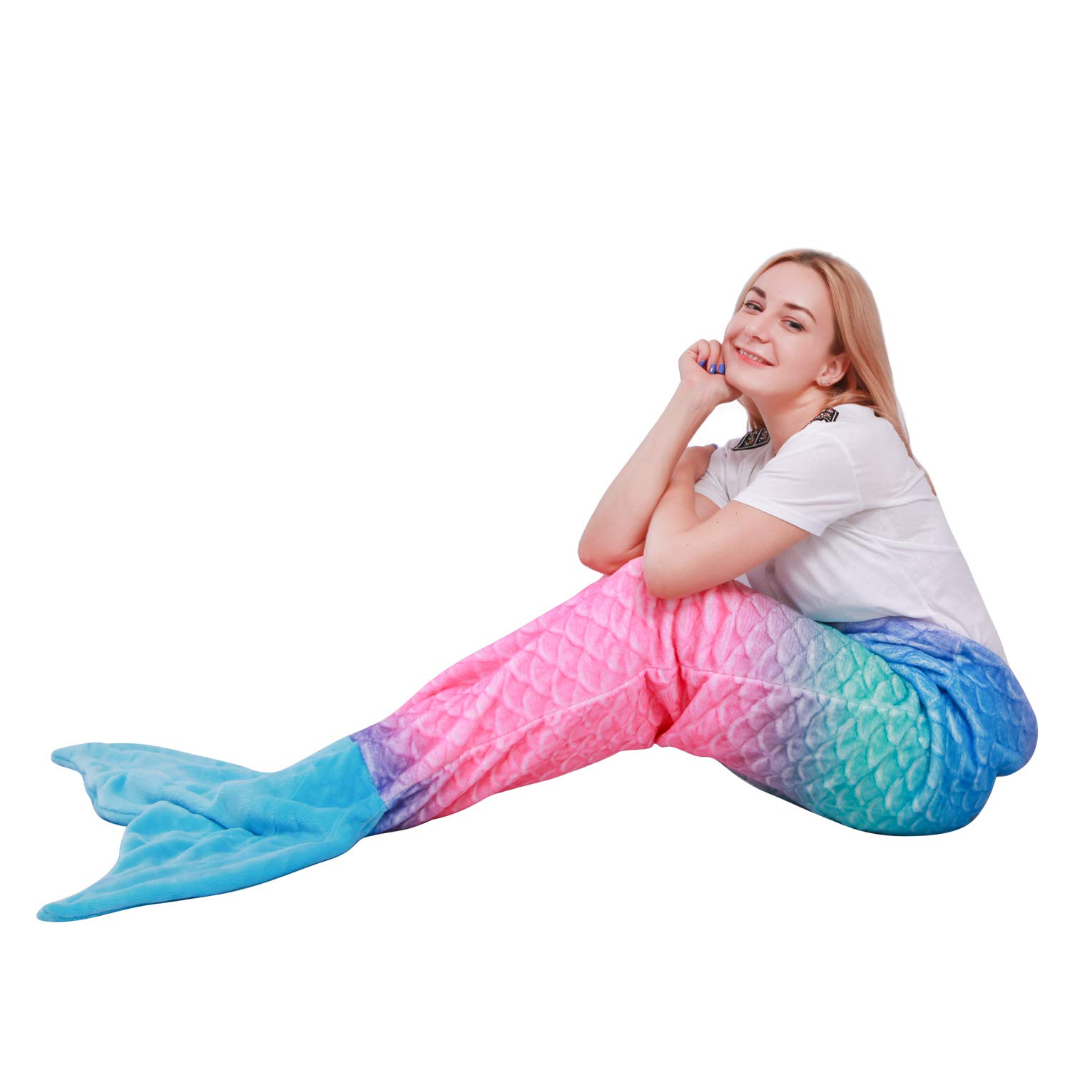 "Ataya Mermaid Tail Blanket for Adults and Kids,Fit Over 10 Years Old,Multicolor Soft Flannel Fleece All Seasons Sleeping Blanket,Best Gifts for Girls,25""×60""(Ombre Brush Print Body+Blue Tail)"