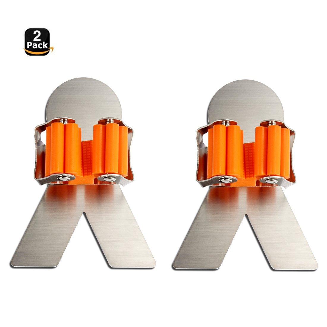 JIEXIN Stainless Steel Mop Broom Holder Racks Adhesive Wall Mount Bathroom Storage Organizer Mop Hanger (2 Pack)