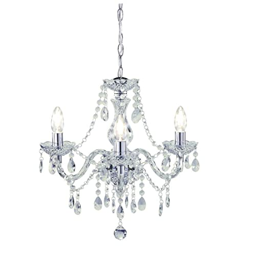 Tuscany 3 Light Ceiling Chandelier Acrylic Droplets Clear