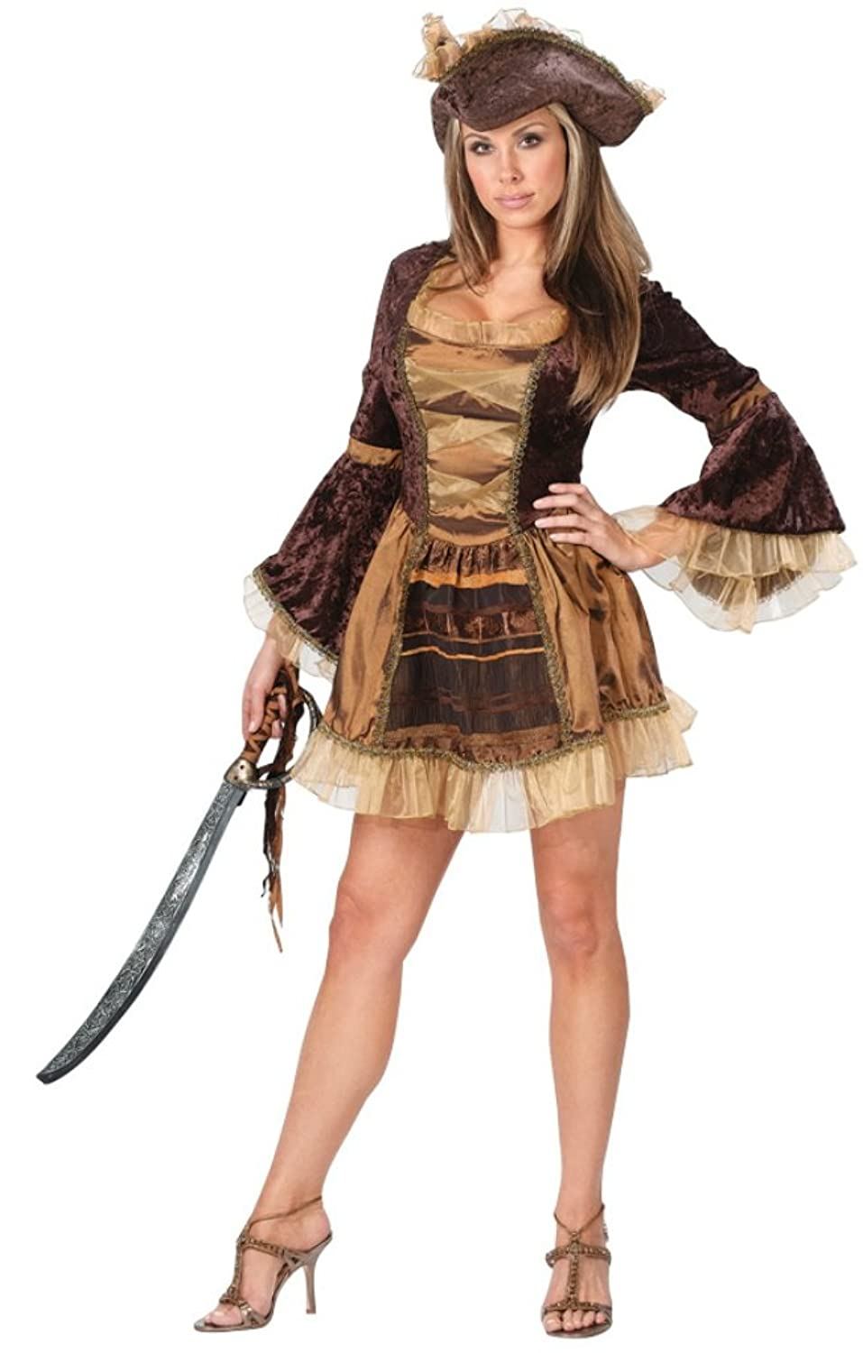 Funworld Womens Sexy Sassy Vixen Wench Victorian Pirate Theme Party Costume, S/M (2-8)