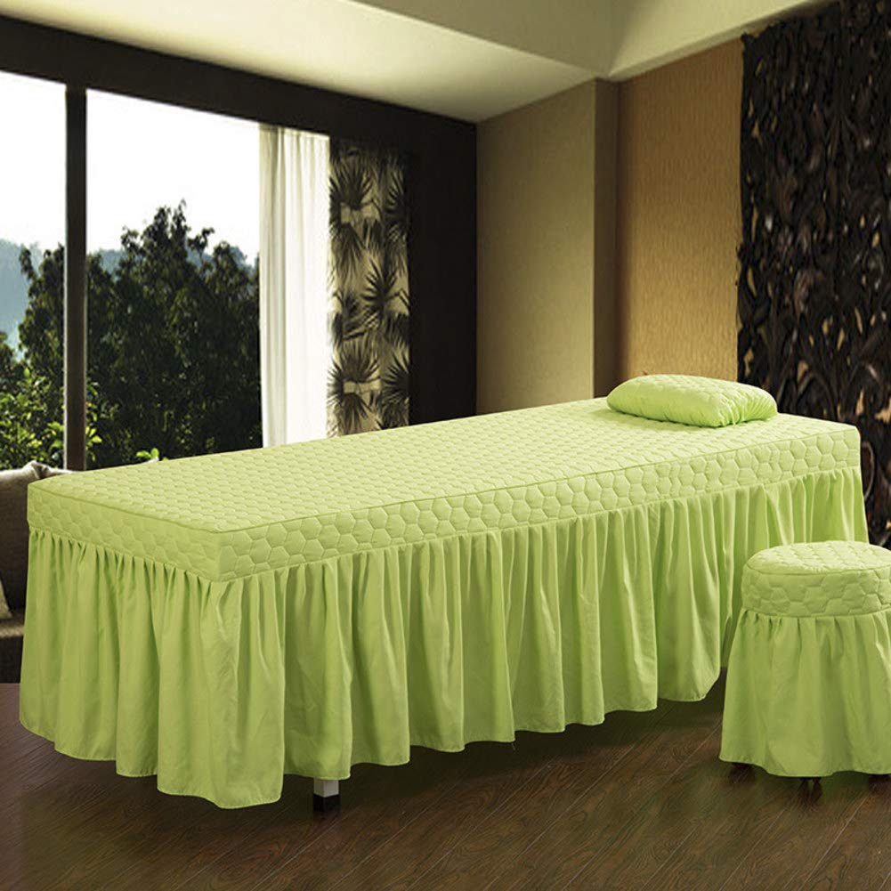 ALHBNAY Premium Massage Table Sheet, Massage Salon Spa Single Table Skirt, Bed Cover, Linen Valance Sheet, (not Include Pillowcases and Stool Covers)-Green 80x190cm(31x75inch) by ALHBNAY
