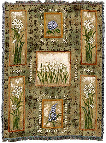 Pure Country Weavers | Garden Maze Paper Whites, Hydrangeas and Lilacs Woven Tapestry Throw Blanket with Fringe Cotton USA 72x54