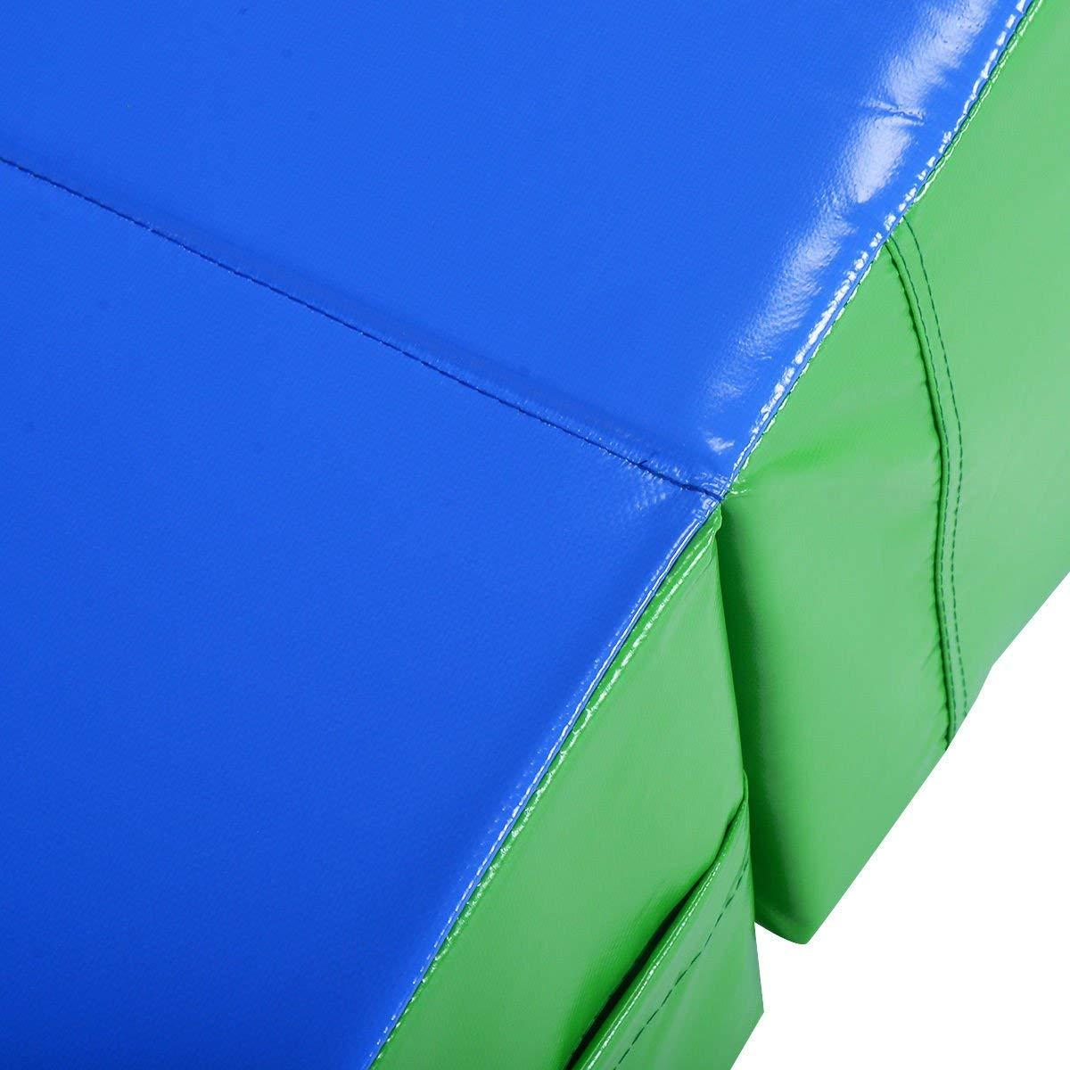 Giantex Incline Gymnastics Mat Wedge Folding and Non-Folding Gymnastics Gym Fitness Skill Shape Tumbling Mat for Kids Play Home Exercise Aerobics (Green/Blue)