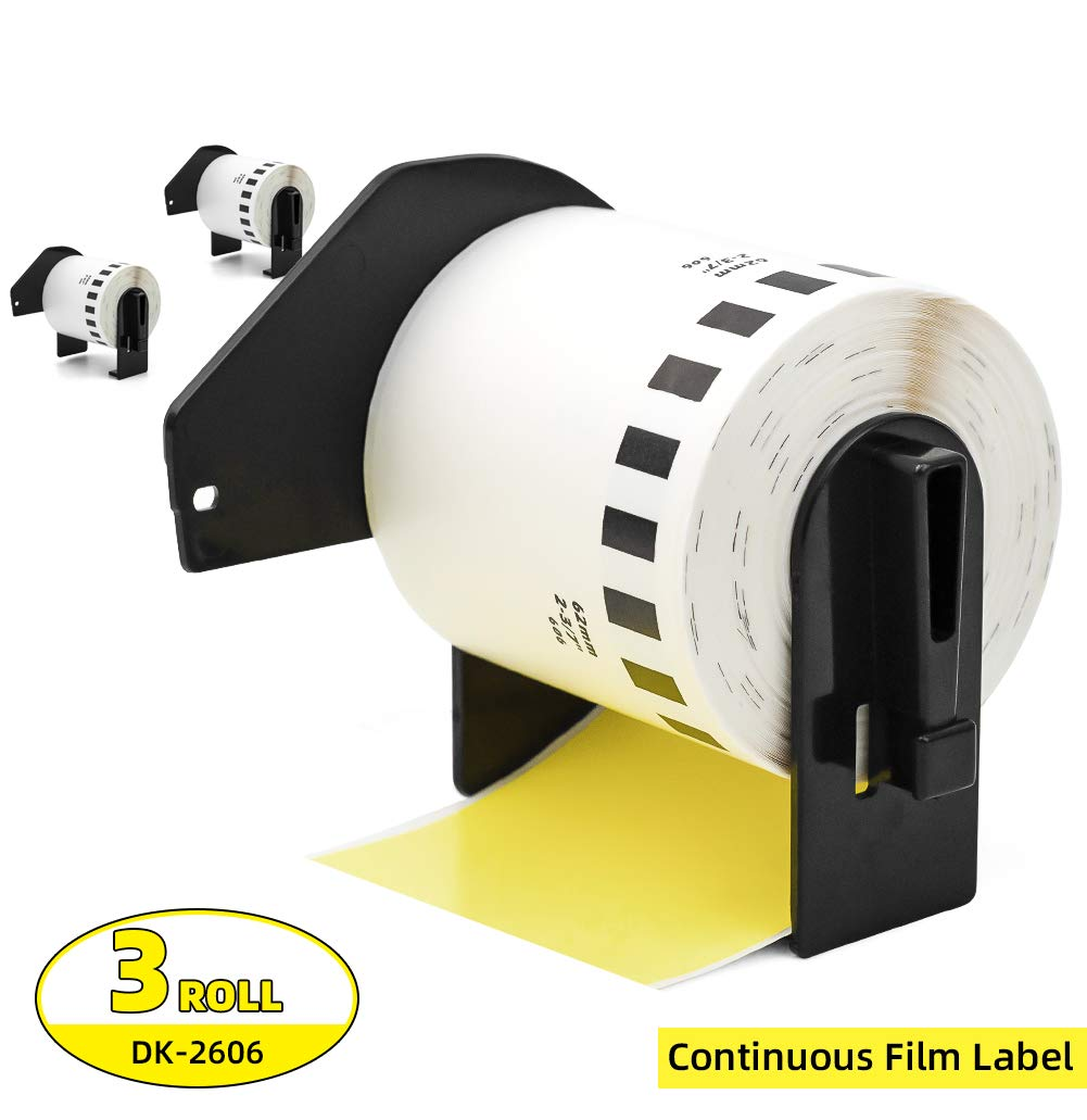 Label Orison-DK2606 Black on Yellow Continuous Film Tape Labels Compatible with DK-2606 2.4 in x 50 ft (62 mm x 15.2 m) with Non-refillable Cartridge,3 Rolls by Label Orison