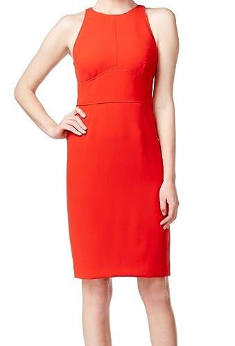 Calvin Klein Women's Halter Seamed Sheath Dress Red 2