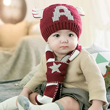 8794937d47e95 Amazon.com  Fashion Item Ladies hat Baby Hat Autumn d Winter Gloves Scarf  Set Men d Women Children s Hat 1-3-Year-Old Warm Line (Color   Bright red