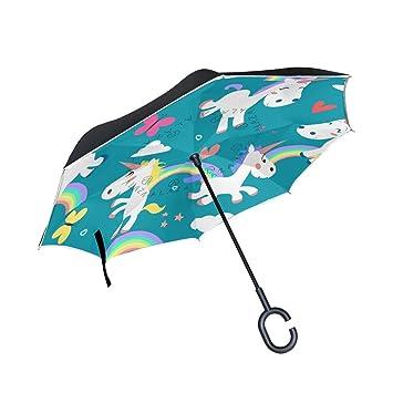 COOSUN Ponis - Paraguas invertido de Doble Capa con patrón de ...