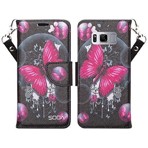 Compatible with Samsung Galaxy S8 Case, SOGA [Pocketbook Series] Leather Folio Flip Wallet Case - Pink Butterfly