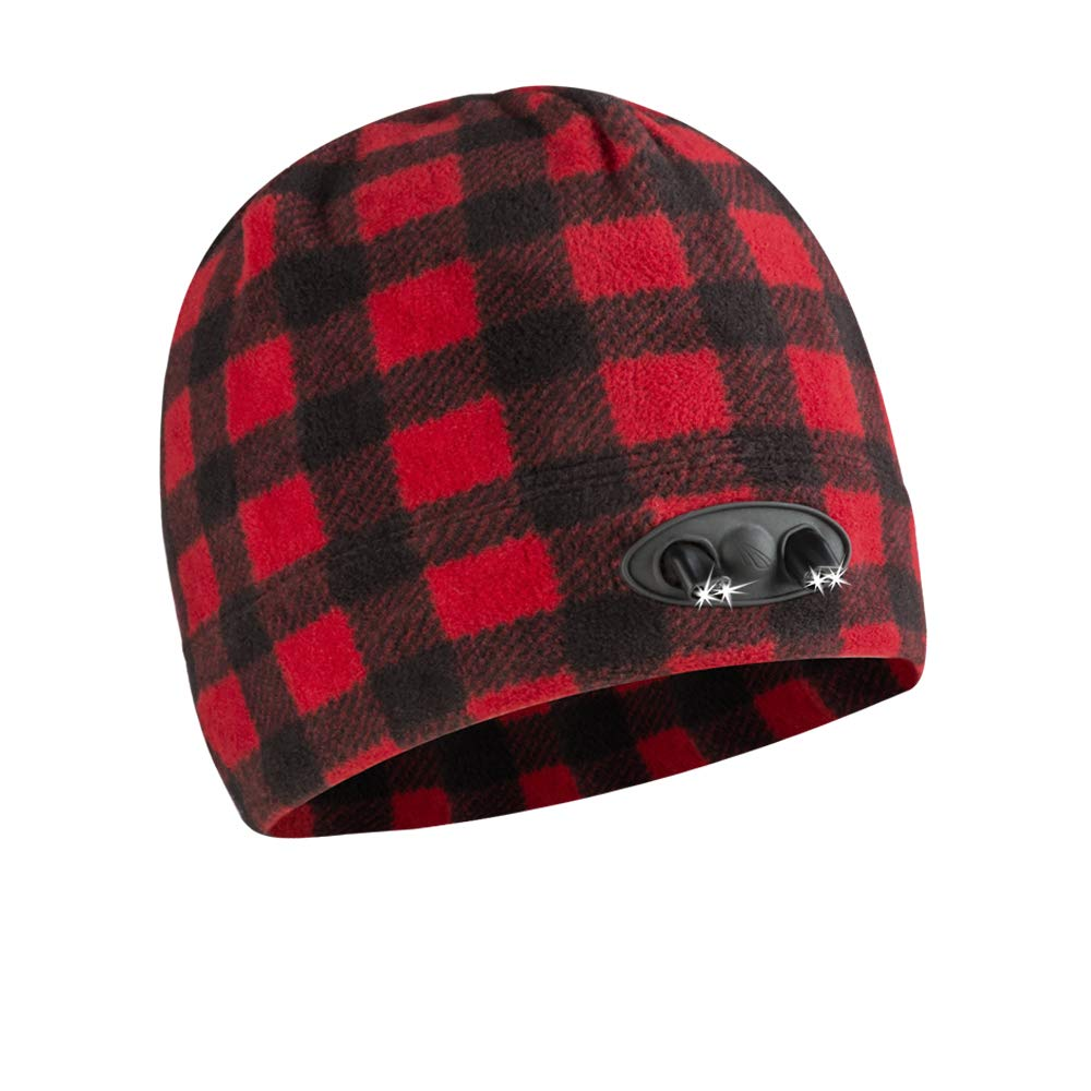 Panther Vision POWERCAP LED Beanie Cap 35/55 Ultra-Bright Hands Free LED Lighted Battery Powered Headlamp Hat - Plaid Red & Black (CUBWB-5505)
