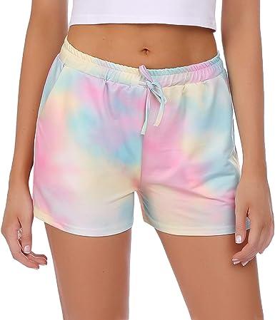 Hawiton Pantalones Cortos Pijama Mujer Algodon, elástica de Encaje Raya Shorts Deportivos Mujer, Yoga Running Pantalon Verano: Amazon.es: Ropa y accesorios