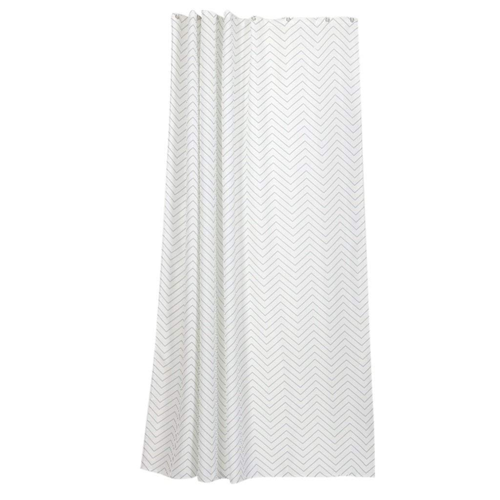 MRZZ Thickening Shower Curtain Waterproof MildewProof Polyester,Wavy Stripe Printing Decorative Bathroom Partition Curtain - Plastic Hanging Ring/Hook. (Color : White, Size : 200180cm)