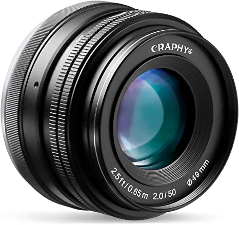 CRAPHY Objetivo 50mm para Sony Cámaras Digitales sin Espejo Sony E ...